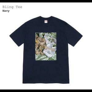 🔥Supreme Bling Tee Shirt Navy Blu SS20 Cash money